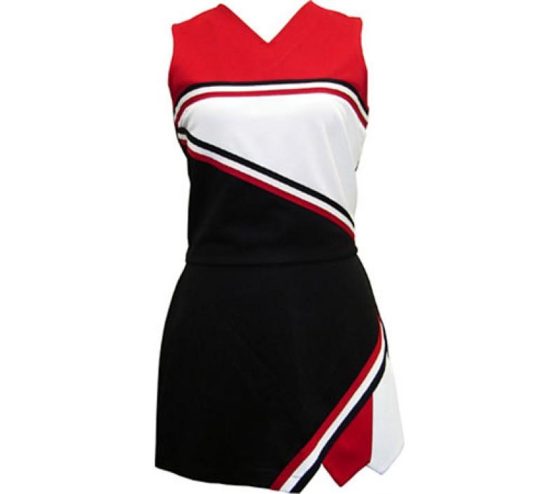 V-neck shell & 3 pleat braid skirt